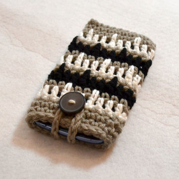 Gray Black and White Striped Cell Phone Sleeve, Crochet Phone Cozy, Smartphone Case, iPhone sleeve,