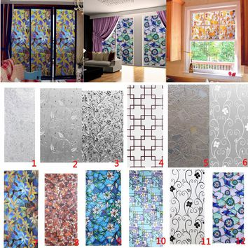45X100cm 44 Designs European Style Window Stickers Stained Glass Floral Home Decorative Static Cling Film