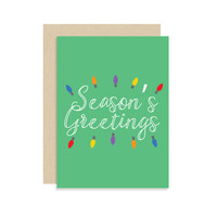 Season's Greetings - Christmas Holiday Seasonal Card Gift - String Lights - Modern Cute Classic Fun 5x7