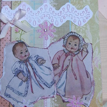 Welcome Baby Girl Card: New Baby Handmade Card, Vintage Look, Handmade - Sale Price