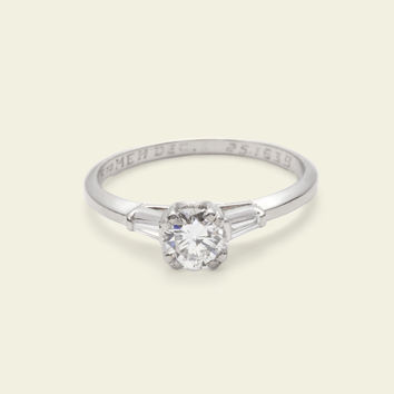 Late 1930s Classic .43ct Diamond Engagement Ring with Tapered Baguette Accents