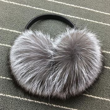 Winter Women Warm Real fox Earmuffs Girl's Earlap Ultralarge Ladie's Plush Ear Muff female fox fur lady fur Earmuffs Ear cover