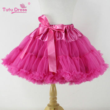 Super Fluffy Chiffon Ballet Tutu Skirt Cheap Pettiskirt Baby Girls First Birthday Outfit Super Soft Girl Skirt