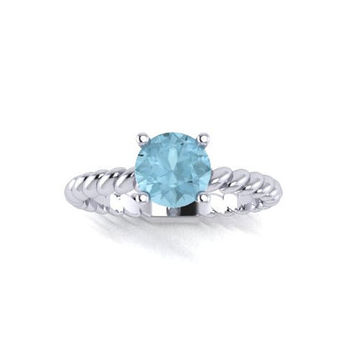 Aquamarine Engagement Ring, Birthstone Ring, 14K White Gold Engagement Ring, Promise Ring Right Hand Ring RE00100