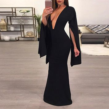2018 Women Sexy Backless Black Dress Casual Deep V-Neck Slim Fit Bodycon Short Dress Long Sleeve Floor-Length Party Dresses
