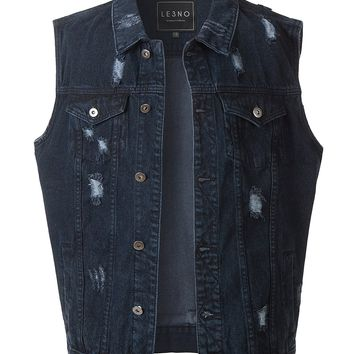 LE3NO Mens Vintage Ripped Button Down Denim Jean Vest with Pockets