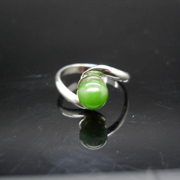Small Jade Ring, Sterling Silver Ring, Size 5 Ring, 925 Ring, Thin Band Ring, Sterling Ring, Bead Ring, Green Stone Ring, 925 Jade Ring