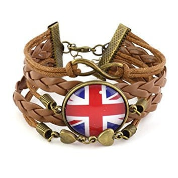 Union Jack Bracelet Infinity Sign Brown Faux Leather BD52 Vintage British Flag Cabochon Fashion Jewelry