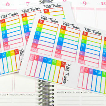 Rainbow Fitbit Daily Step Tracker Planner Sticker for Erin Condren Life Planner (ECLP) Reminder Sticker