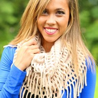 Fancy the Fringe Infinity Scarf in Beige
