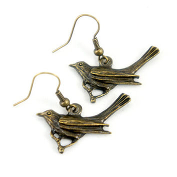 Antiqued Brass Crow Bird Dangle Earrings - CP050
