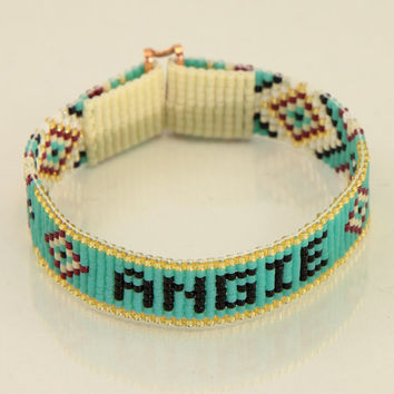 Personalized Name Bead Loom Bracelet Artisanal Jewelry Southwestern Native American Motif Jewelry Western Beaded Gypsy Boho Bohemian