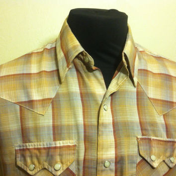 1970's Dee Cee Brand Large Authenic Western Wear Mens Shirt