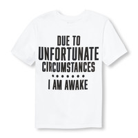 Boys Short Sleeve 'Due To Unfortunate Circumstances I Am Awake' Graphic Tee | The Children's Place