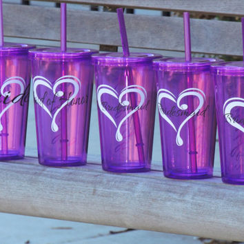 Bridesmaid acrylic tumbler, water cup, wedding party favor, purple water tumbler, bridal party gift, personalized tumbler with straw