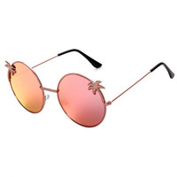 Chic Tropical Coconut Tree Shape Embellished Round Sunglasses