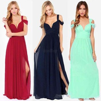 US Women's Cocktail Prom Formal Party Long Maxi Dress Wedding Bridesmaid Dress