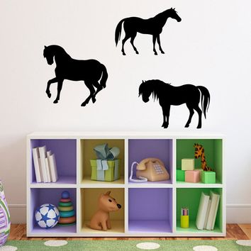 Horses Wall Decal - Set of 3 - Horse Wall Art - Girl Bedroom Decal