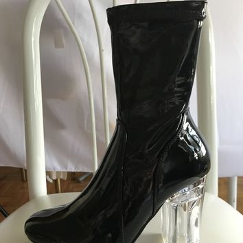 Super Comfortable Black Patent Ankle Boots Booties