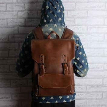 Large backpack leather schoolbag Korean backpack and minimalist style retro Metrosexual all-match PU