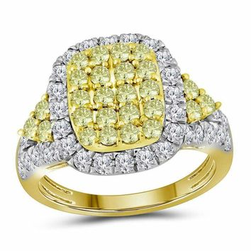 14kt Yellow Gold Womens Round Canary Yellow Diamond Rectangle Cluster Ring 1-7-8 Cttw