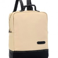 Color Block PU Leather Square Backpack