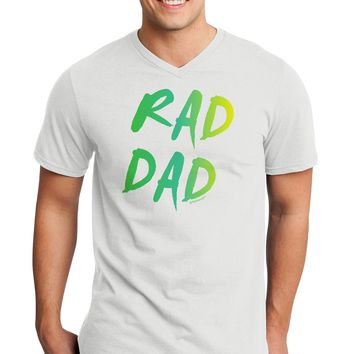 Rad Dad Design - 80s Neon Adult V-Neck T-shirt