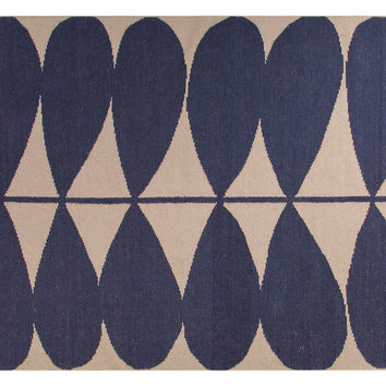 Moselle Flat-Weave Rug, Blue/Ivory, Area Rugs