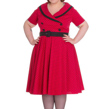 60's Vintage Style Polka Dot Starlet Wide V-neck Collar Party Dress
