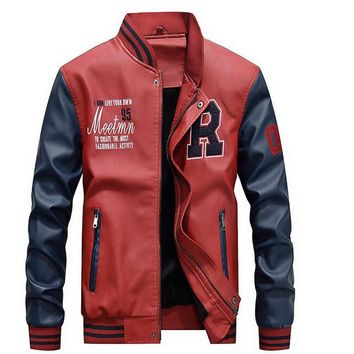 Mens Baseball Faux Leather Jacket in Red