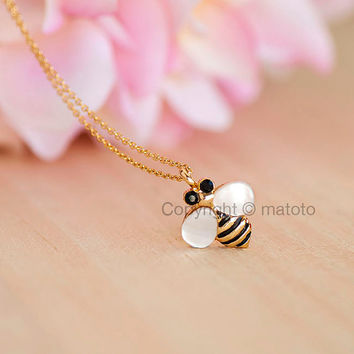 Gold Bee Necklace, Tiny Honey Bee with Mother-of-Pearl (MOP) Wings