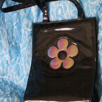 ON SALE 90s Holographic Daisy Purse / Black Vinyl Handbag With Color Changing Flower Soft Grunge Club Kid