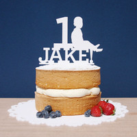 First Birthday cake topper, silhouette cake toppers, baby photo cake topper, child outline on cake topper