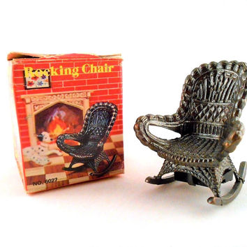 "Old Fashioned Metal Brass Miniature Pencil Sharpener Rocking Chair 2.5"" No 6027"