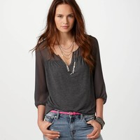 AE Chiffon Back Tee | American Eagle Outfitters