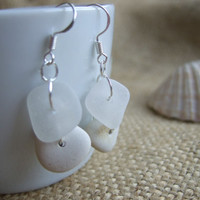 Minimalist...Scottish sea glass in white with white sea pottery circle earrings, minimalist sea glass and sea pottery earrings in white