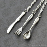 Spoon, Fork, Knife Best Friend Necklace -  Set of 3 BFF Cutlery Utencil Necklaces