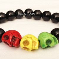 NEW Bling Hoops Rasta Skull Bracelet Men Women by BlingHoops
