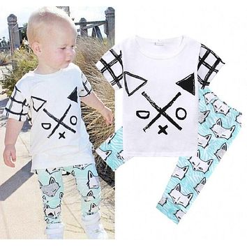 Baby Boys Clothes Cotton Short sleeve T-shirt Pants Fox Outfits Clothes