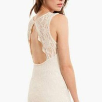 TOBI Off White Lace Cut Out Backless Bodycon Dress Size S