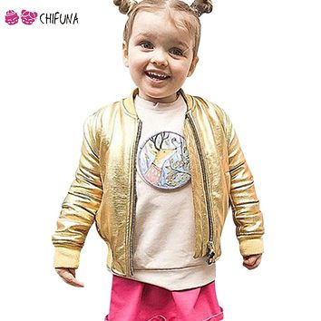 Chifuna New Arrival Girls Boys Rock Zipper Outerwear Children Gold Leather Winter Coat Fashion Clothes Kids Winter Jacket