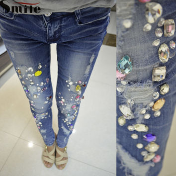 2016 New Women Washed Destroyed Jeans Pants Waist Ripped Bead Slimming Fit Lady Rhinestones Skinny Denim Pants Trousers Hot Sale