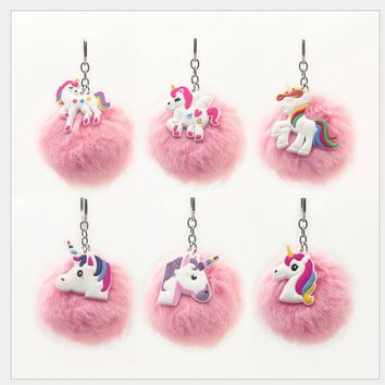 6pcs/set Cute Unicorn Key Chains Birthday Party Decoration Horse Key Holder Alloy Key Ring For Woman Girls Gift Jewelry Favors