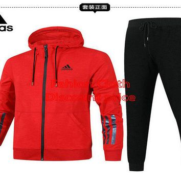 Adidas Jacket Sweater New Style Fashion Trend Long Sleeve Suit For Men 18928 L-4X Red Black