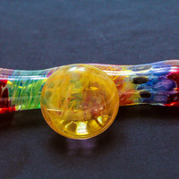 Heady Chillum with too many techniques to mention (UV glass involved) with fume cabochon Glass Pipe