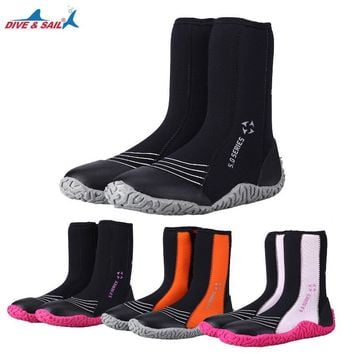DIVE&SAIL 5mm Scuba Diving boots for women men Water Sport Snorkeling  shoes Fishing wetsuit boots