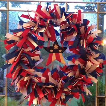 4th of July red white and blue ribbon wreath
