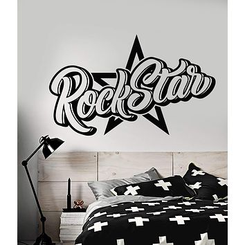 Vinyl Wall Decal Word For Rock Star Decor Teen Room Stickers (2877ig)