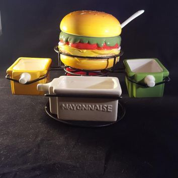 Hamburger Condiment Caddy, Condiment Bowls