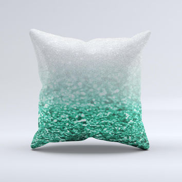Tiffany Green & Silver Glimmer Fade  Ink-Fuzed Decorative Throw Pillow